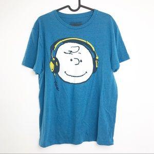 Peanuts Charlie Brown Headphones T-shirt-Size M